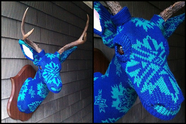 sweaty Deer Faux Taxidermy 80's sweater