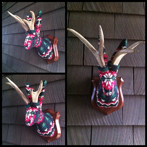 Photograph of Sweaty Holiday Jackalope Faux Taxidermy (Ugly Christmas Sweater)