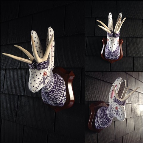 Sweaty Jackalope Faux Sweater Taxidermy 80's snow bunny winter wonderland