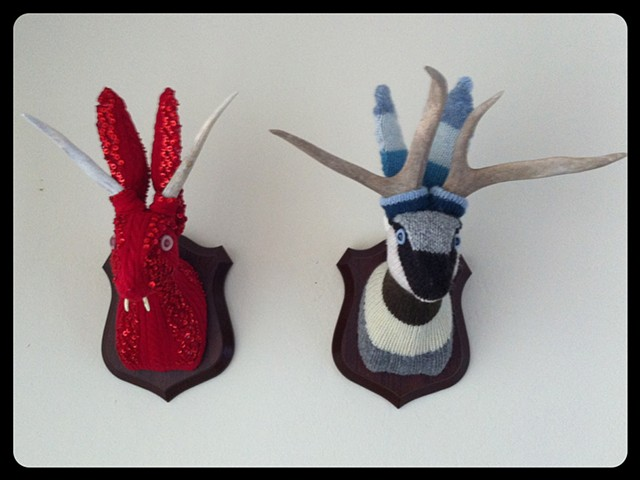 Photograph of Sweaty Jackalopes Faux Taxidermy (Sequin & Striped Sweater)