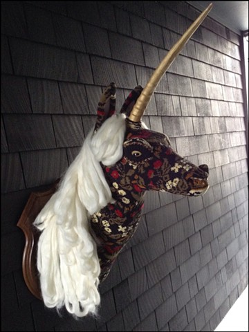 sweater faux taxidermy unicorn majestic black floral unicorn renaissance