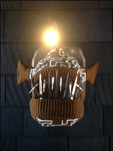 Sweaty Angler Fish Sweater faux taxidermy deep sea reading lamp mod
