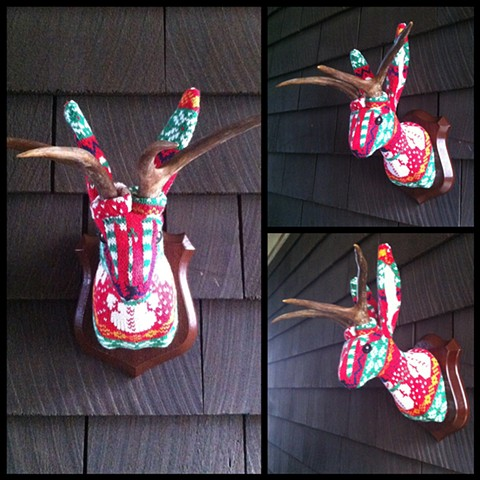 Photograph of Sweaty Christmas Jackalope Faux Taxidermy (Ugly Christmas Sweater)