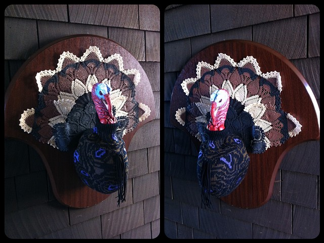 Photograph of Sweaty Turkey Faux Taxidermy (Doily, 80's Sweater)