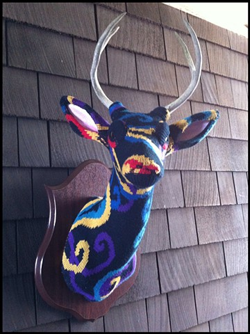 photograph of Sweaty Deer Faux Taxidermy 80s paisley sweater