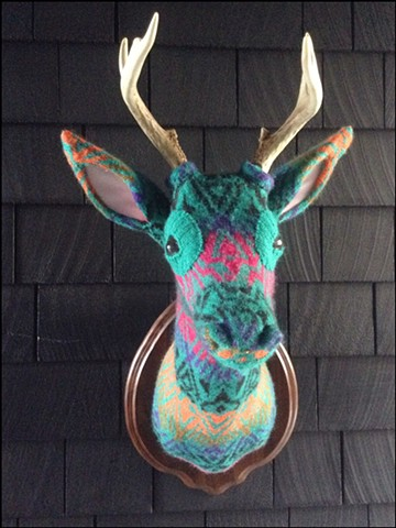 sweater faux deer stag antler taxidermy 80's turqoise lisa frank tribal geometric