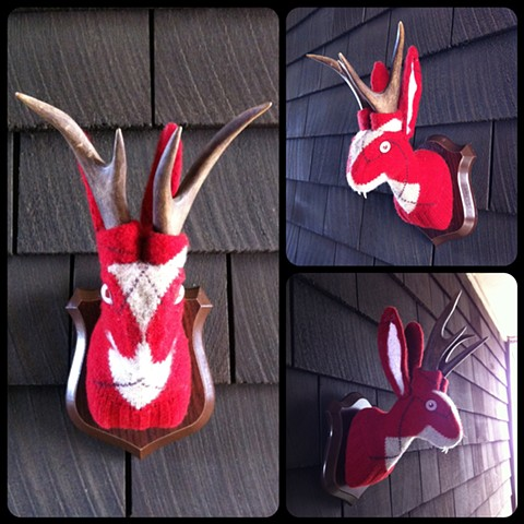 Photograph of Sweaty Jackalope Faux Taxidermy (Argyle Sweater)