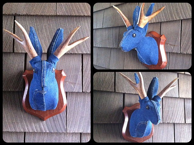 Photograph of Sweaty Denim Jackalope Faux Taxidermy (Maternity Jeggings)