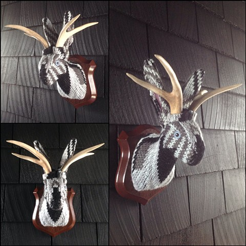 Sweaty Jackalope Faux Sweater Taxidermy 80's Cosby geometric