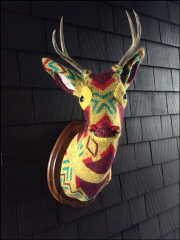Sweater faux deer stag antler taxidermy 80's yellow tribal geometric