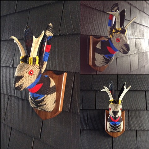 sweater faux taxidermy jackalope 80's cosby antlers tribal aztec