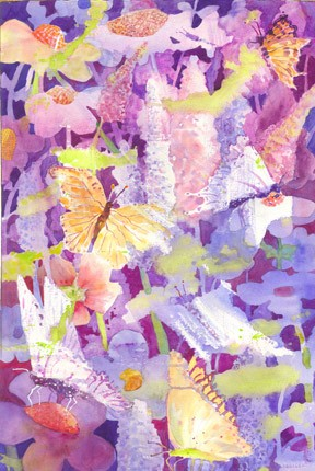 somewhat abstract watercolor of butterflies and flowers
