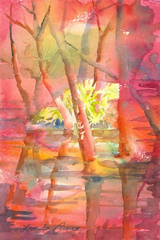 traditional transparent watercolor depicting wooded river scene, non traditional color