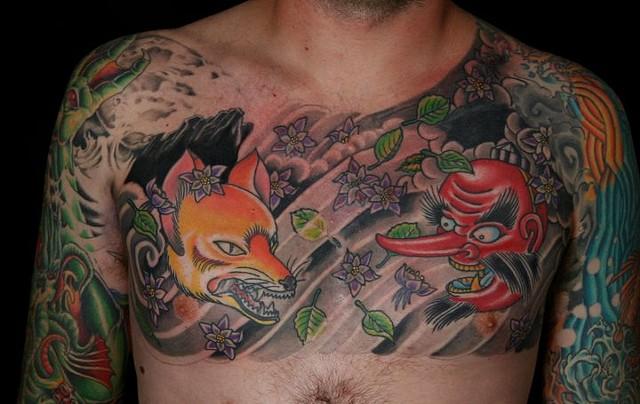 Kitsune Tengu irezumi horimono tattooagogo tattoo