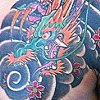 Dragon with cherry blossoms and lanterns