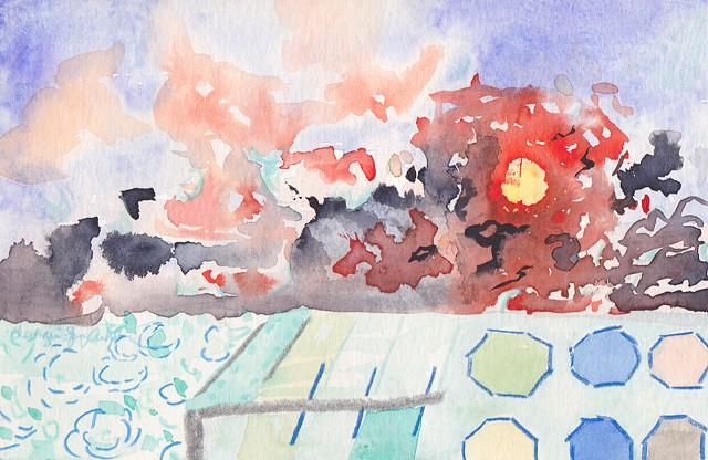 angry blazing sunset with black birds and sun as a clock with boardwalk and tiles over a bay below, watercolor by Georgia Spivey Ashbaugh