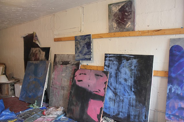 Procession of paintings in the studio