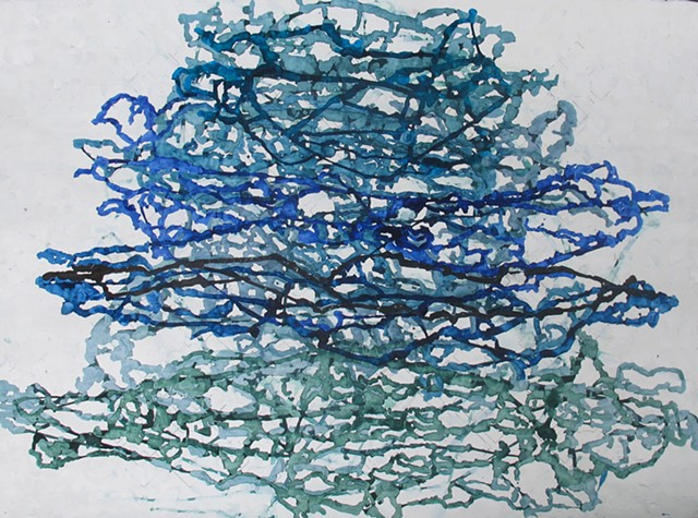 Untitled (watercolor and gouache on paper, blue and green)