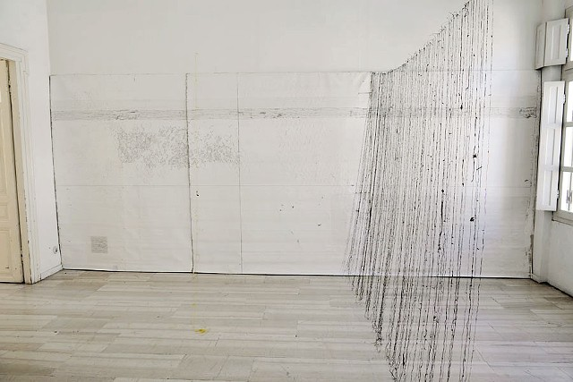 Dive into your selves, search for the source of your lives II (Rilke) 2010 – 2016: graphite, charcoal, engraving on canvas, seaweed strings, pieces from fishing nets