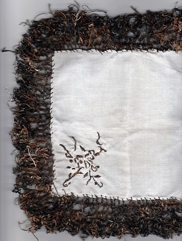 seaweed, embroidered sea grass, crocheted sea grass, fabric, tradition, Cyclades, Aegean Sea, Greece, Pacific, Dimitra Skandali, Don Soker Gallery, San Francisco
