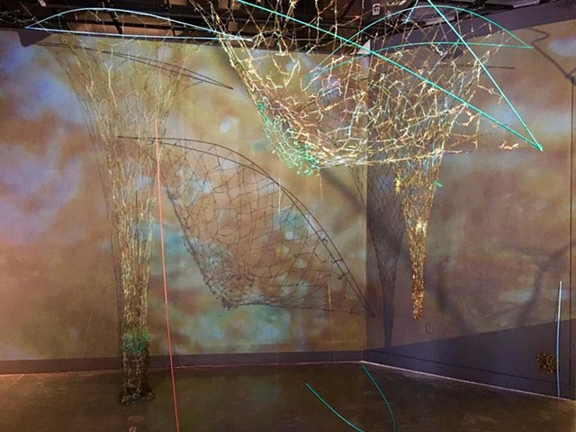 seaweed, sea grass, found nautical ropes, strings and fishing nets, wood, projection, sound, Dimitra Skandali, Samantha Reynolds, ProArts, Oakland, 2x2 solos, refugees, Aegean Sea, Greece