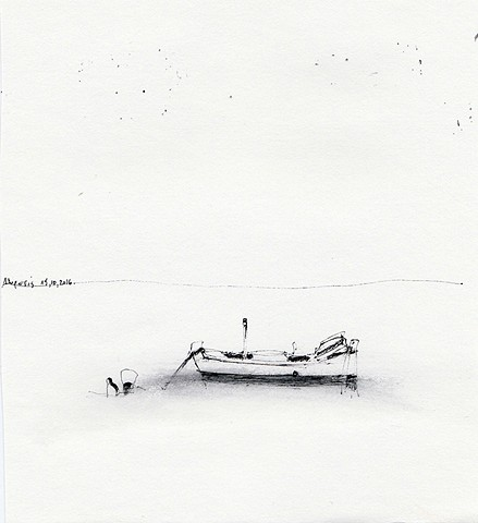 drawing, Aegean Sea, Paros, Greece, Dimitra Skandali, Don Soker Contemporary Art, San Francisco
