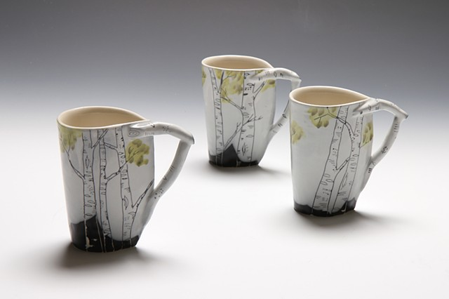 Hand built cups in cone 6 porcelain
