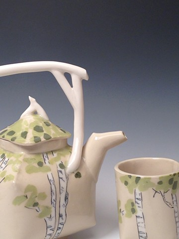 Birch Teapot and Tea Tumbler - detail