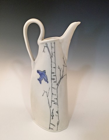 Bluebird/Birch Pitcher