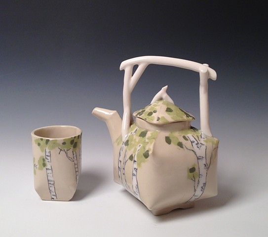 Birch Teapot and Tea Tumbler with inlaid porcelain
