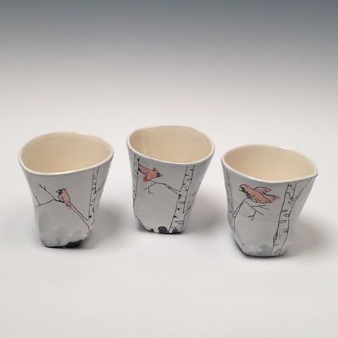 White Birch Tea Tumblers with Red Birds