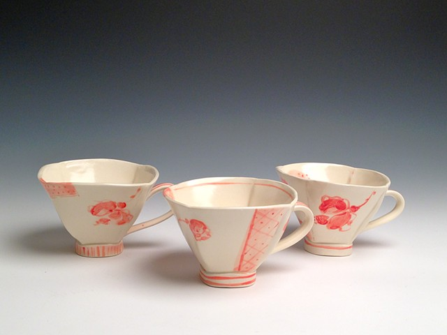 3 Rose Tea Cups