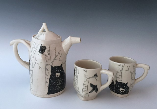 Birch and Bear Coffee Pot and Cups