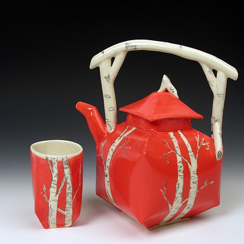Hand built Tea Pot Set  with underglaze and scratching