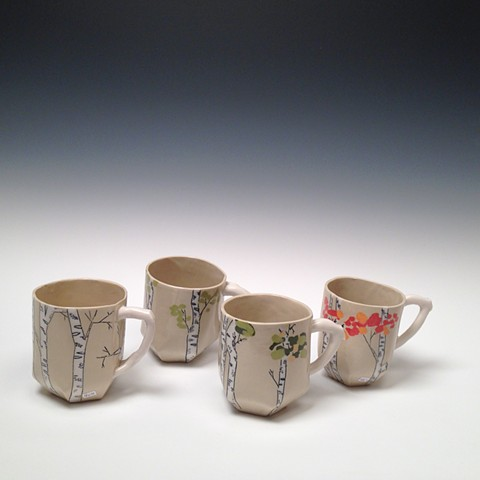 Inlaid Birch Seasons Mugs