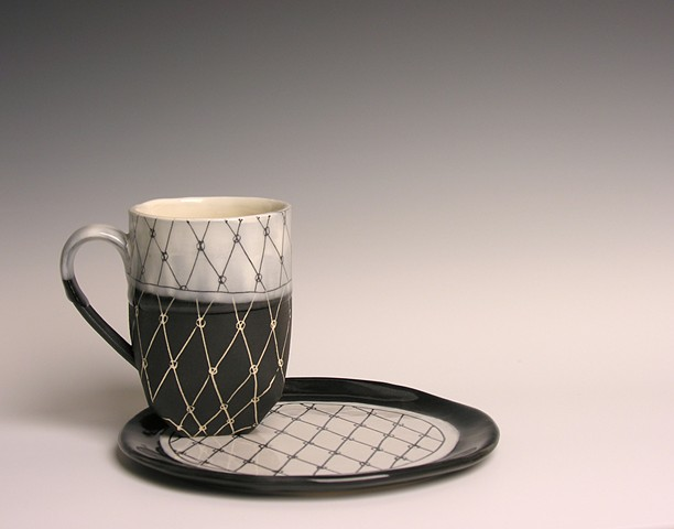 Hand built cup and plate
