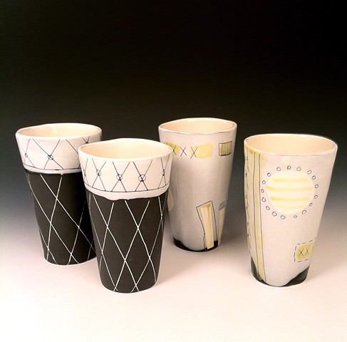 Hand built Latte Pint Cups