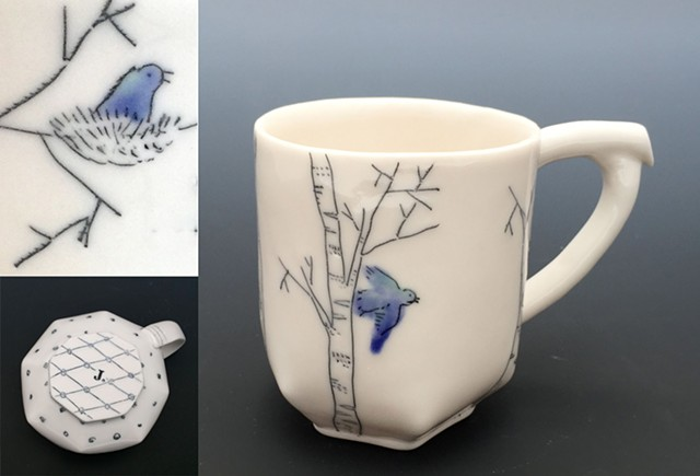 Bluebird/Birch Mug with details