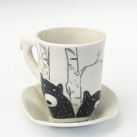 Bear and Bird  Espresso Cup and Saucer