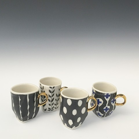 Patterned Espresso cups with Gold Luster