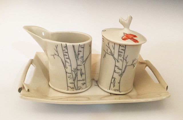 Redbird/Birch Cream, Sugar and Tray Set