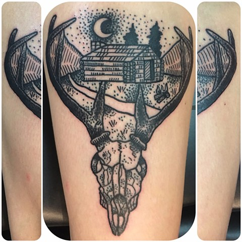 Deer Skull and Cabin Tattoo Stippling