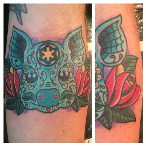 Sugar Skull Star Wars Pig Tattoo