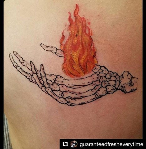 Skeleton Hand and Flame Tattoo