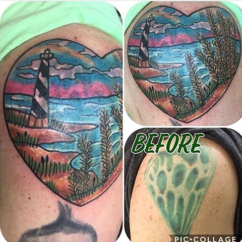 Traditional Beach Scene Coverup Tattoo