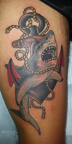 Shark and Anchor Tattoo