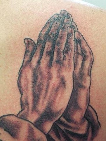 Praying Hands Black and Gray Tattoo
