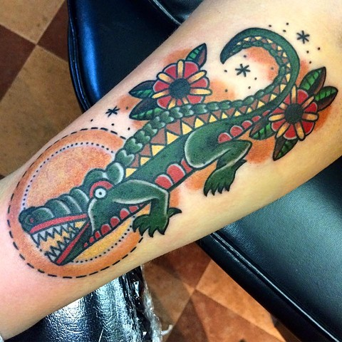 Traditional Alligator Tattoo