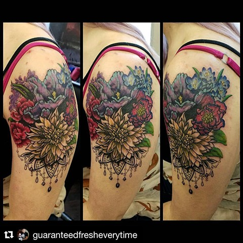 Flowers and Lace Tattoo