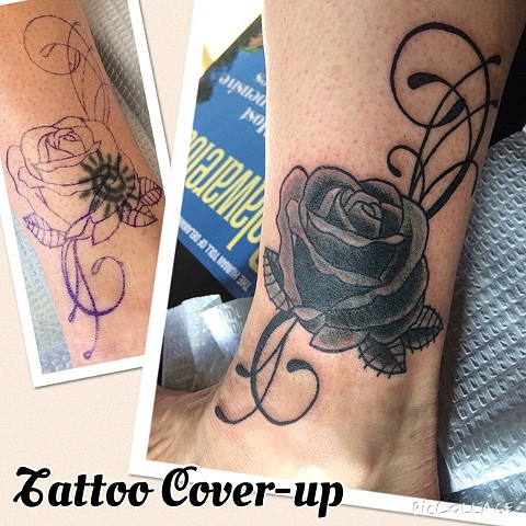 Black Rose Tattoo Cover-up